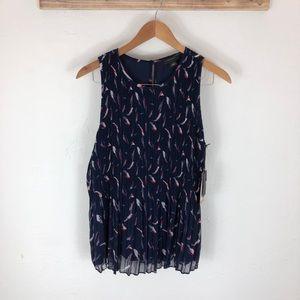 NWT Halogen pleated sleeveless blouse